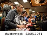 Small photo of SACRAMENTO - APRIL 15: eSports athlete Putthivath Miky XSK Samurai Chea playing Street Fighter V at video game tournament NCR NorCal Regionals 2017.