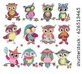 set of 12 cute colorful cartoon ... | Shutterstock .eps vector #626513465