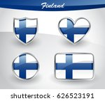 glossy finland flag icon set... | Shutterstock .eps vector #626523191