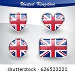 glossy united kingdom flag icon ... | Shutterstock .eps vector #626523221