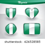 glossy nigeria flag icon set... | Shutterstock .eps vector #626528585