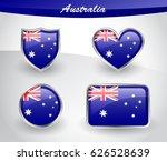 glossy australia flag icon set... | Shutterstock .eps vector #626528639