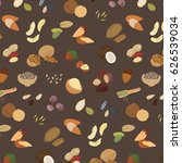 nuts food collection vector... | Shutterstock .eps vector #626539034
