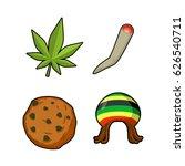 rasta icons set. green leaf of... | Shutterstock . vector #626540711