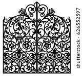 black metal gate with forged... | Shutterstock .eps vector #626552597
