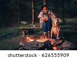 woman and dog warm near... | Shutterstock . vector #626555909
