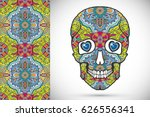 day of the dead colorful sugar... | Shutterstock .eps vector #626556341