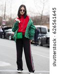 Small photo of PARIS-MARCH 2, 2017.Street style during Paris fashion week.Ready to wear.