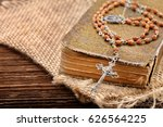 very old holy bible and metal... | Shutterstock . vector #626564225