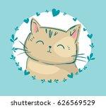 Stock vector cute cat vector children print on t shirt 626569529