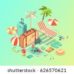 summer travel and vacation... | Shutterstock .eps vector #626570621