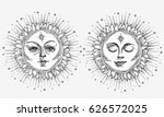 hand drawn sun with face and...   Shutterstock .eps vector #626572025