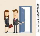businessman invites woman to...   Shutterstock .eps vector #626573867