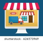shopping online related icons | Shutterstock .eps vector #626573969