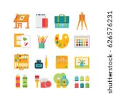 art icon set  16 icons  flat ... | Shutterstock .eps vector #626576231