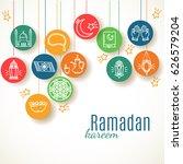 ramadan kareem background. eid... | Shutterstock .eps vector #626579204