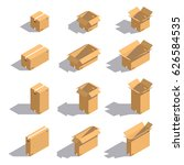 cardboard boxes isometric style ... | Shutterstock .eps vector #626584535