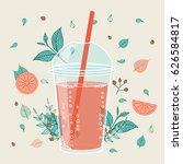 smoothie design in hand drawn... | Shutterstock .eps vector #626584817