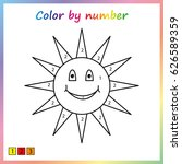 sun   painting page  color by... | Shutterstock .eps vector #626589359