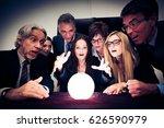 business team using a crystal... | Shutterstock . vector #626590979