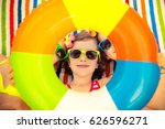 happy children in the swimming... | Shutterstock . vector #626596271
