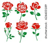 set of decorative red rose... | Shutterstock .eps vector #626603189