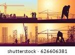 workers work on various... | Shutterstock .eps vector #626606381