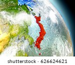 japan in red on model of planet ... | Shutterstock . vector #626624621