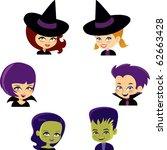 halloween monster set with six...   Shutterstock .eps vector #62663428