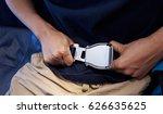 passenger prepares to fasten... | Shutterstock . vector #626635625
