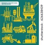 industry icon set clean vector | Shutterstock .eps vector #626638439