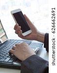 close up businessman hand using ...   Shutterstock . vector #626662691