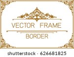 gold photo frame with corner... | Shutterstock .eps vector #626681825