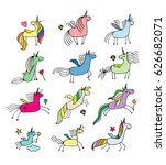 magic unicorns collection ... | Shutterstock .eps vector #626682071