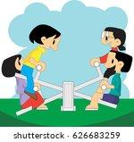 seesaw   Shutterstock .eps vector #626683259