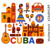 cuba illustration. collection... | Shutterstock .eps vector #626684189