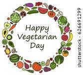 round frame from vegetarian... | Shutterstock .eps vector #626691299