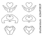 hand and heart icons set.... | Shutterstock .eps vector #626693819