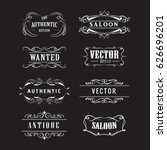 set western badge hand drawn... | Shutterstock .eps vector #626696201