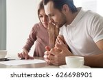 serious couple studying... | Shutterstock . vector #626698901