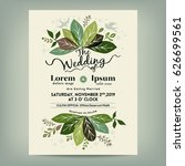 wedding invitation with green... | Shutterstock .eps vector #626699561