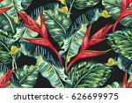 tropical hawaiian flowers  palm ... | Shutterstock .eps vector #626699975