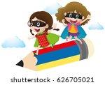 two girls in hero costume...   Shutterstock .eps vector #626705021