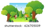 kids playing in the forest | Shutterstock .eps vector #626705039