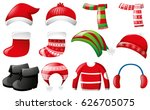 winter clothes in red and green ... | Shutterstock .eps vector #626705075