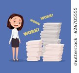 tired unhappy office worker... | Shutterstock .eps vector #626705555