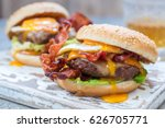 delicious bacon burger with egg ... | Shutterstock . vector #626705771