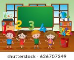 kids and different numbers in... | Shutterstock .eps vector #626707349