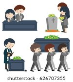 funeral scene with many sad... | Shutterstock .eps vector #626707355