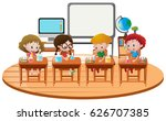 kids sitting a school desks | Shutterstock .eps vector #626707385